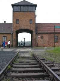 16. Auschwitz train track entrance